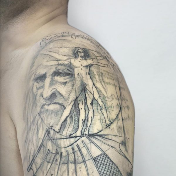 Mirko Pugliese Tattoo Atelier-tatuaggio-braccio-coppia-handmade-freehand-mano-libera-valle-itria-puglia-taranto-leonardo-davinci
