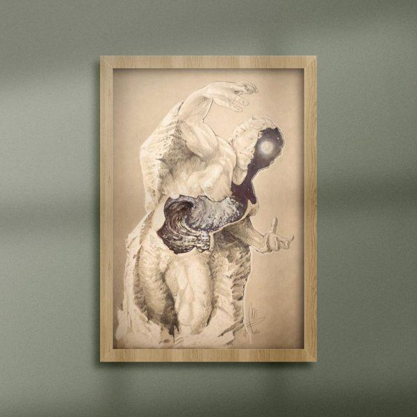 Mirko-Pugliese-Tattoo-Atelier-disegnatore-Taranto-statua-spaccata-Ulisse-infinito-di-Michelangelo-onde-del-mare-cavalloni