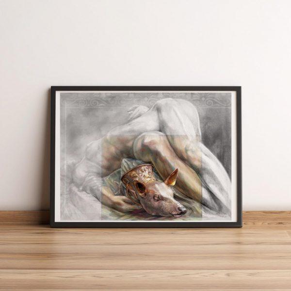 Mirko-Pugliese-Tattoo-Atelier-disegnatore-taranto-bicchier-testa-di-cerbiatto-museo-Marta-di-Taranto-donna-vino-tarentilla