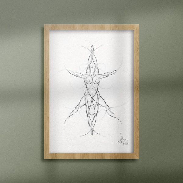 Mirko-Pugliese-Tattoo-Atelier-disegno-matita-su-cartoncino-uomo-donna-rosa-della-vita-simbolismo-simbologia-sacra-Leonardo-Da-Vinci-uomo-vitruviano-stella-di-Davide