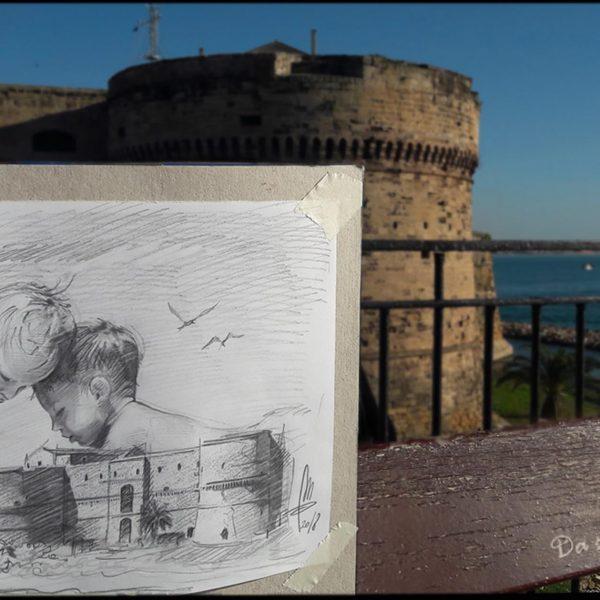 Mirko-Pugliese-Tattoo-Atelier-taranto-crispiano-puglia-castello-aragonese-baby-bambini-mare-disegno-schizzo-bozza-artista-surrealismo-italia