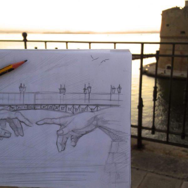 Mirko-Pugliese-Tattoo-Atelier-taranto-crispiano-puglia-castello-aragonese-mare-disegno-schizzo-bozza-artista-surrealismo-italia-ponte-girevole-michelangelo-creazione