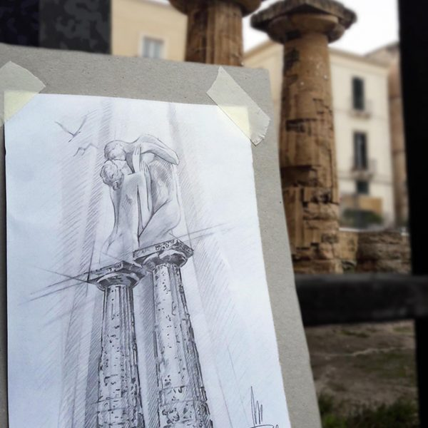 Mirko-Pugliese-Tattoo-Atelier-taranto-crispiano-puglia-piaza-castello-aragonese-disegno-schizzo-bozza-artista-surrealismo-italia-colonne-doriche-tempio-poseidone